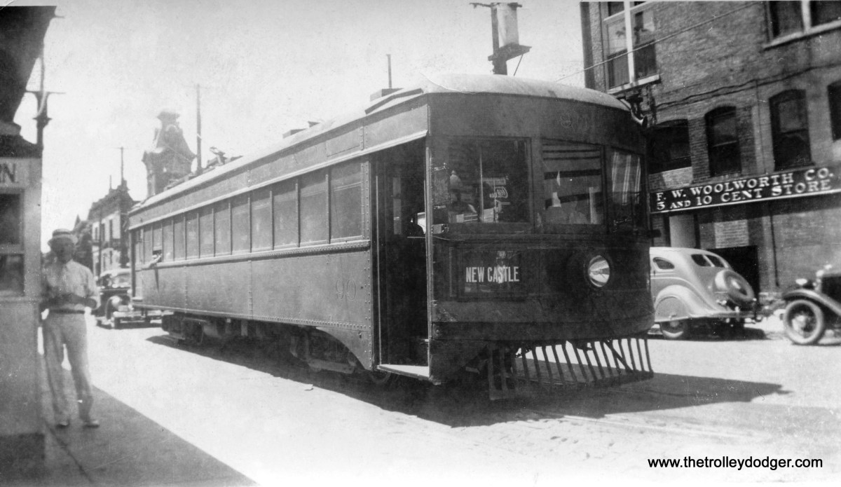 Indiana Railroad lightweight car #90 at New Castle, IN on July 4, 1936. Note the Woolworth's at right.