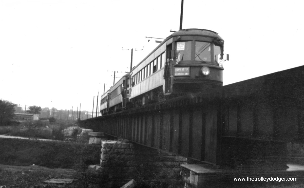 This is a three-car train of Indiana Railroad lightweight high-speeds in multiple-unit service on a fantrip, circa 1938-40.