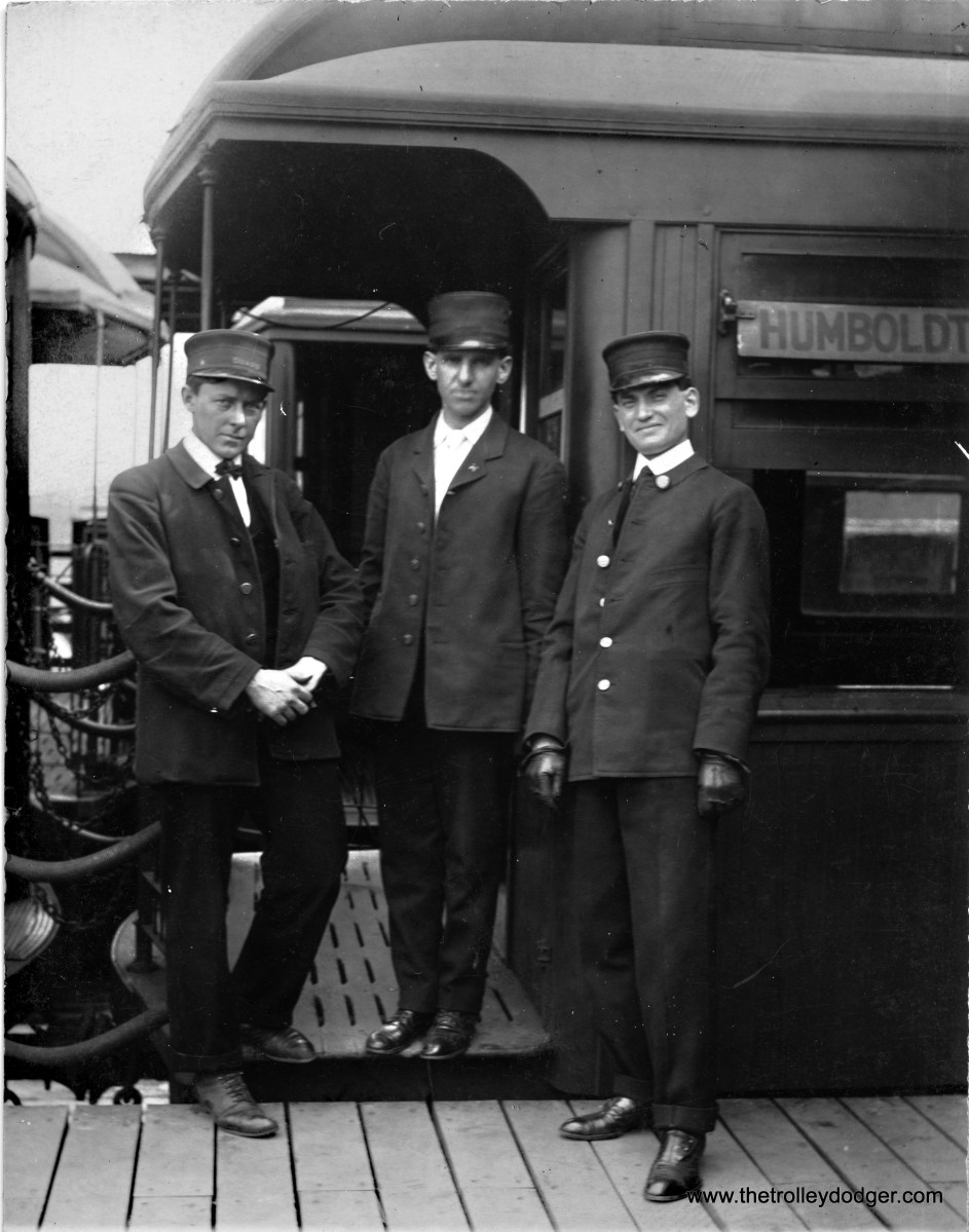 "Conductors on a Humboldt Park ""L"" train, circa 1907-15."