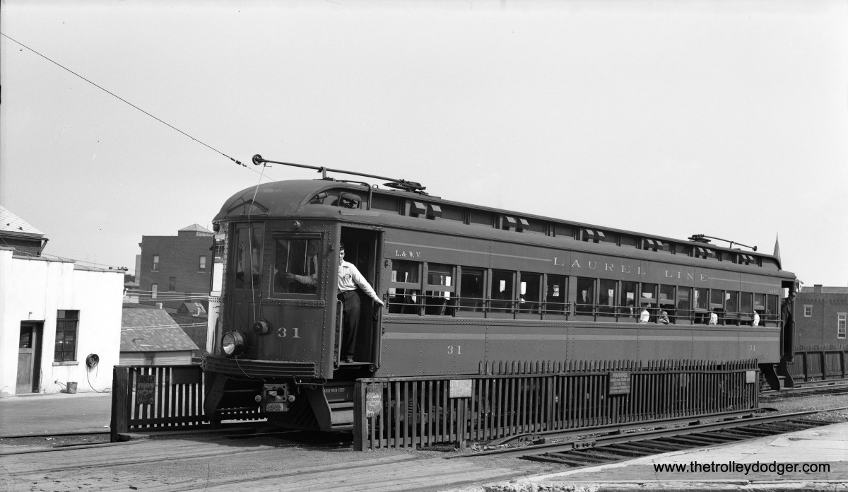 "Laurel Line car 31 is at the Plains substation on August 3, 1952. Edward Skuchas writes: ""I believe the locations of the two Laurel Line photos are incorrect. The top photo is Pittston. The lower photo may be the Plains sub-station. West Pittston is on the other side of the Susquehanna River, and the Laurel Line did not go there."""