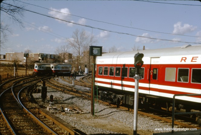 On January 26, 1964, approximately one year after the North Shore Line quit, the two Electroliners were rechristened as Liberty Liners on the Red Arrow's 13-mile line between Philadelphia and Norristown. In the distance, we see a pair of early 1930s Bullet cars, which had a storied history of their own.