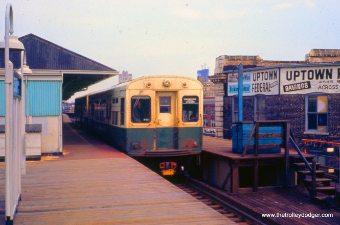 An Englewood-Howard train at Wilson Avenue in April 1973. This station has since been completely redone.