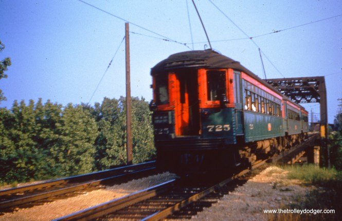 NSL 725 at the rear of a train crossing the same bridge on July 20, 1955. (Joseph Canfield Photo)