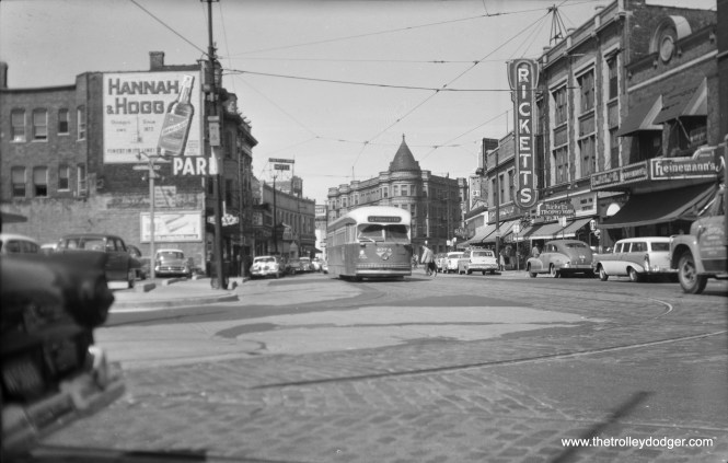 CTA 4374 is southbound on Clark Street, just south of Diversey, on September 6, 1957, the last day for the north half of Route 22 - Clark-Wentworth. Ricketts (no relation to the current Cubs ownership) was a popular restaurant. At left, down the street, you can just make out the marquee of the