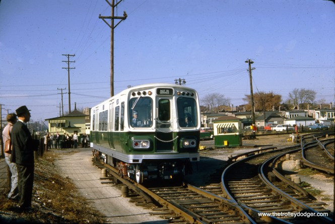 A new 2000-series CTA train at (I am guessing) the Douglas Park yards at 54th Avenue in Cicero on October 25, 1964.