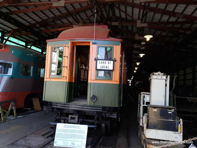 "Chicago elevated car 1754 was built in 1906 for the Northwestern ""L"". It was the last wooden motor car used by the CTA and was retired in 1970."