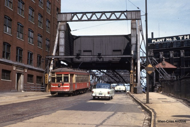 CTA one-man car 1773 on Cermak and Lumber on May 9, 1954.