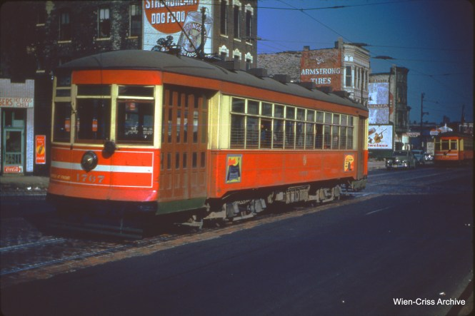 CTA one-man car 1767 is on Ogden at Van Buren on October 29, 1950.