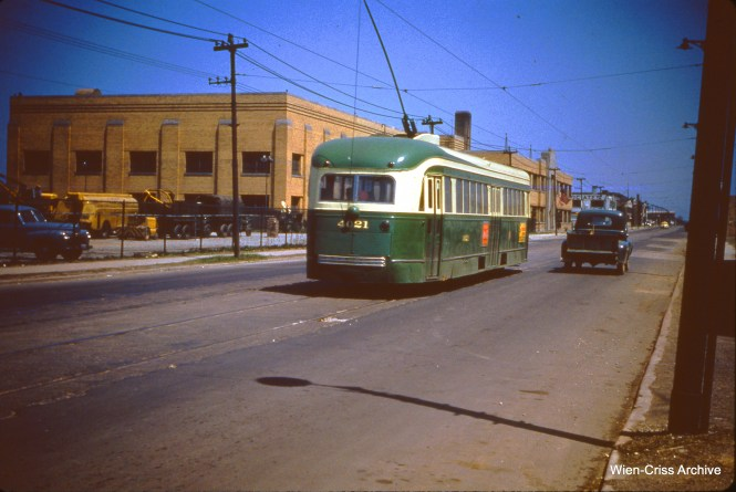 CTA 4021 is at 63rd and Linder on May 6, 1951. This car is now preserved at the Illinois Railway Museum.