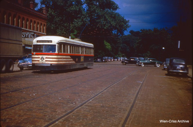 CTA 4023 on 64th and Stony Island on July 1, 1951.