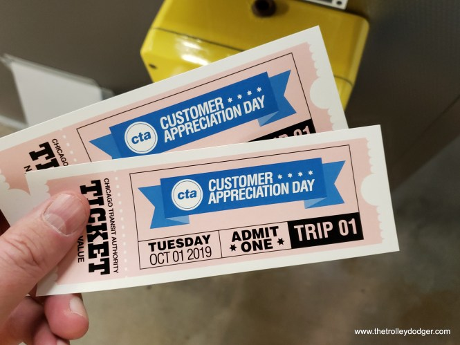 From 11 am to 12:30 pm, tickets were required, along with payment of a regular CTA fare. People were able to register online. We were in group one. From 12:30 until 2, anyone could ride the historic cars.