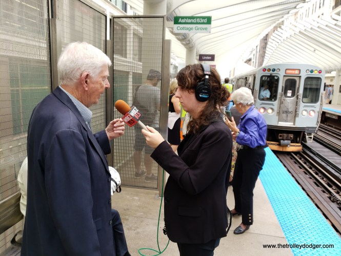 Michael Harrington, son of the late Philip Harrington (1886-1949), first Chairman of the Chicago Transit Authority from 1945-49, talks to a WBEZ reporter.