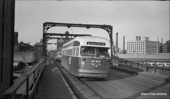 CTA PCC 4144 is southbound on Halsted. (Wien-Criss Archive)