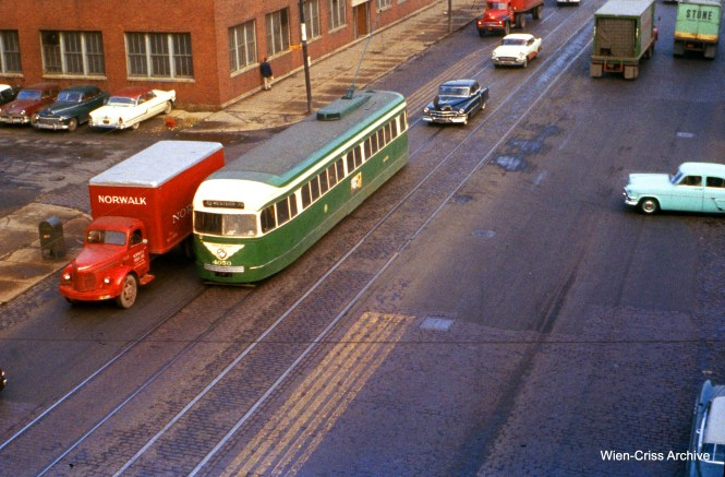 "CTA 4050 is southbound on Western at the Douglas Park ""L"" on November 11, 1955. (Wien-Criss Archive)"