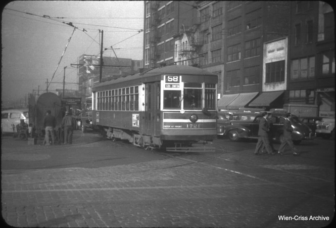 CTA 1721 is an eastbound Ogden Avenue car on Randolph Street in 1950. (William C. Hoffman Photo, Wien-Criss Archive)