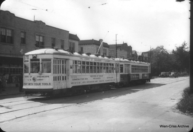 "CSL 1740 and 1731 are displaying what the photographer called ""wartime ads"" in September 1943 at Montrose and Cicero. (William C. Hoffman Photo, Wien-Criss Archive)"
