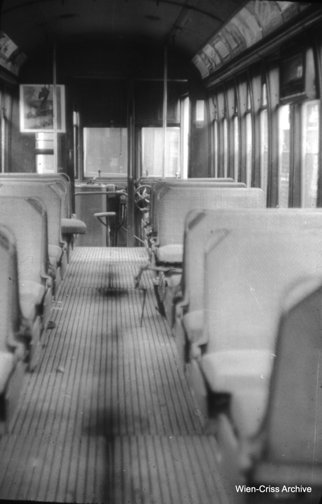 The interior of car 6150, a Brill built circa 1914-15, as it appeared on August 3, 1953. (William C. Hoffman Photo, Wien-Criss Archive)