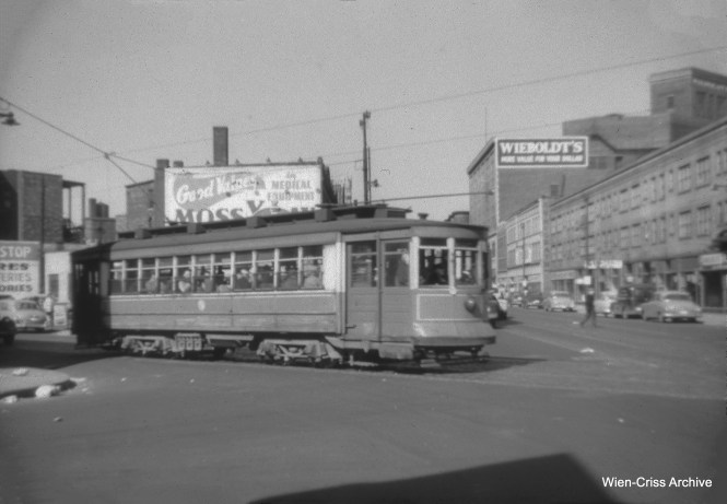 "The notes on this rather fuzzy photo say this is CTA 520 at the intersection of Milwaukee, Paulina, and Ogden. On the other hand, Daniel Joseph says that this is a ""physical impossibility,"" and that this is actually Paulina, Ogden and Adams. (William C. Hoffman Photo, Wien-Criss Archive)"