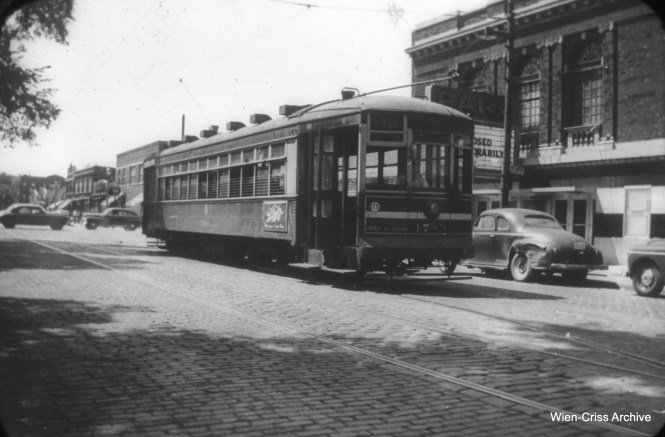 "CTA 1783 is on Lake Street just east of Austin, probably circa 1950-52. Here, the Park theater is ""closed temporarily."" It would be permanently shuttered before the end of streetcar service in 1954, most likely a victim of television. (William C. Hoffman Photo, Wien-Criss Archive)"