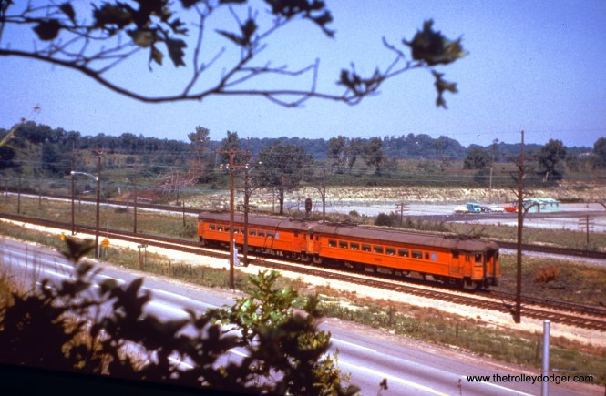 SSL train 16 (cars 111 and 106) departs Wilson siding and enters single-track territory as it heads west towards Chicago on June 13, 1963. (John D. Horachek Photo, William Shapotkin Collection)