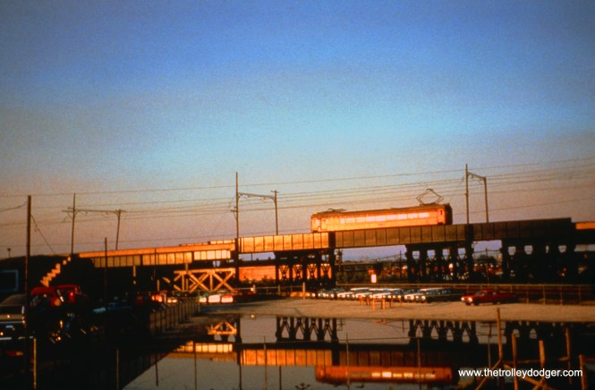 SSL car 111 (eastbound train 7) takes the Ford City curve at Chicago's Torrence Avenue on June 13, 1963. (John D. Horachek Photo, William Shapotkin Collection)