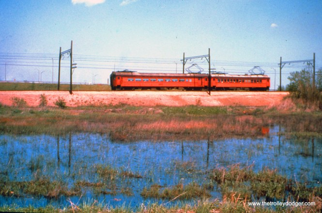 A two-car SSL train heads west at 130th Street in October 1966. (John D. Horachek Photo, William Shapotkin Collection)