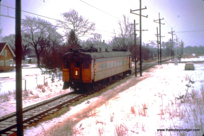 South Shore car 109 (train 26) heads west at Lydick at Quince Road, on December 26, 1963. (John D. Horachek Photo, William Shpotkin Collection)