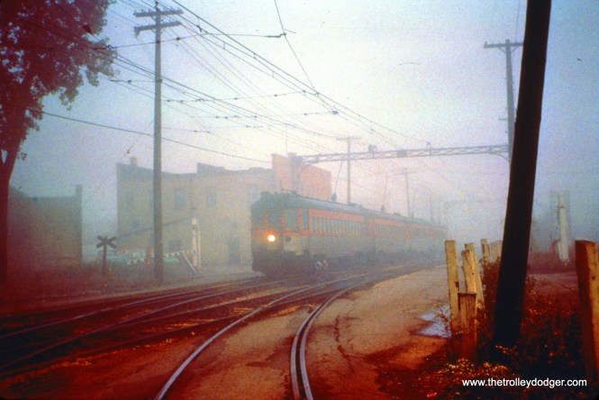 October 6, 1962 was one foggy morning on the NSL, as train 404 prepares to take a switch off Commonwealth Avenue at Valley junction in North Chicago. (John D. Horachek Photo, William Shapotkin Collection)
