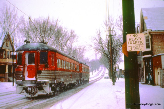 On a snowy December 31, 1962, train 409, with cars 775 and 757, prepares to climb the 5th Street hill from Becher Street. (John D. Horachek Photo, William Shapotkin Collection)