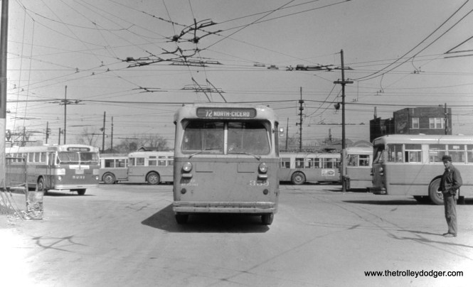 CTA trolley bus 0359 at the North and Cicero garage. (William Shapotkin Collection)