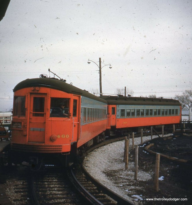 A two-car CA&E train (460 and 421) loops in Forest Park. The 460 is now at the Illinois Railway Museum in Union.