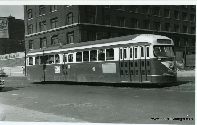 CTA prewar PCC 7013 on the Cottage Grove line, circa 1952-55.