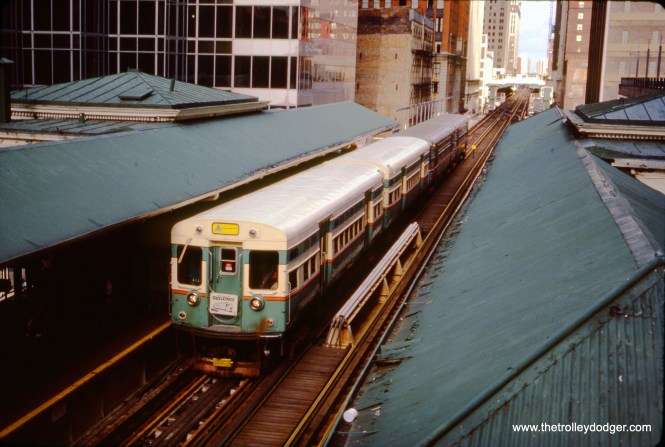 """CTA 6101-6102 heading up a four-car fantrip train in November 1985, for """"Trolleyfest."""" After being stored at the Fox River Trolley Museum for many years, 6101-6102 are back on CTA property, and it is hoped they will someday run again. (Gregory Markey Photo)"""