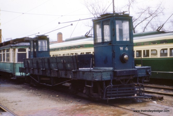 "CTA work car W-4 in 1954. Don's Rail Photos: ""W4, work car. was built by Chicago Rys in 1908 as CRy 53. It was renumbered W4 in 1913 and became CSL W4 in 1914. It was retired on May 17, 1958."" (J. W. Vigrass Photo)"