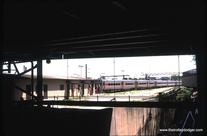 A South Shore Line train at Randolph on May 26, 1993.