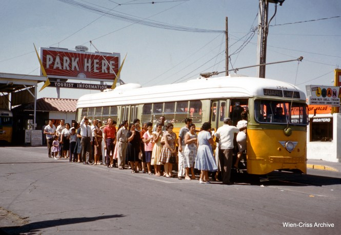 The El Paso trolley, in its original incarnation, was an international affair, with service to Juarez, Mexico. This picture was taken in 1962. (Wien-Criss Archive)