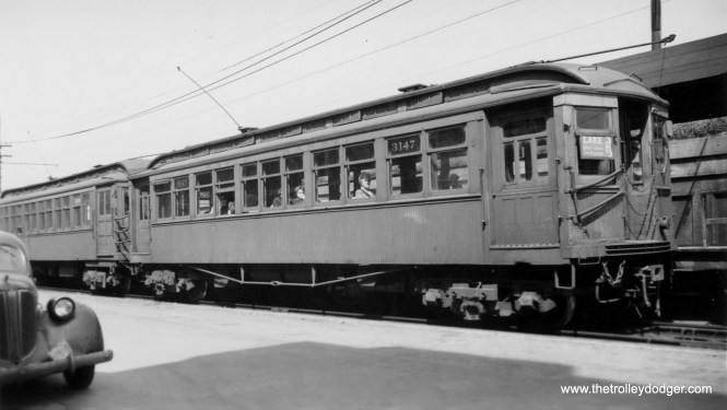 "CTA 3147 is at the front of a Lake Street ""B"" train at Marion. Despite the age of the car at left (circa 1939) this picture cannot have been taken prior to 1948."