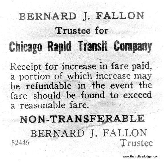 """This notice is from before October 1947, when the Chicago Transit Authority took over the """"L"""" system. Fares were, if anything, being held artificially low for many years, while the system gradually deteriorated and the equipment aged. Once the CTA was in charge, they had more legal leeway to raise fares, in order to cover expenses, in the days before government subsidies. As a result, there were several fare increases in the 1950s. (Courtesy of Ross Harano)"""