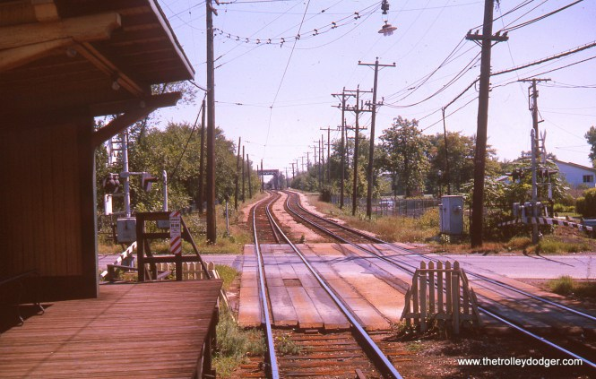 Looking south from the old Isabella station on the Evanston line in August 1963. The bridge in the distance goes over the North Shore Channel.