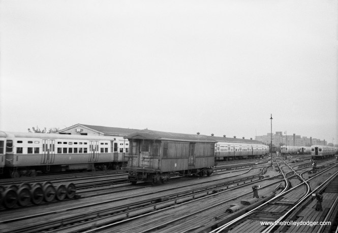 The lone gate car we see in this picture is identified as work car S-2, and the date is September 9, 1957. Can this be 61st Yard?