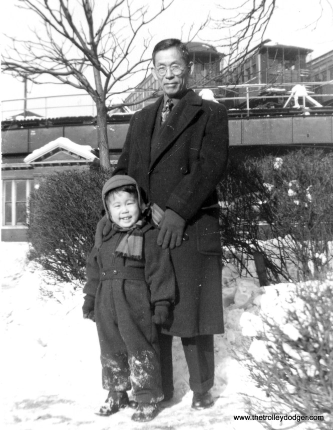 """Ross and his maternal grandfather Rihaci Mayewaki (1886-1969) in front of the Kenwood """"L"""" terminal at 42nd Place. (Courtesy of Ross Harano)"""