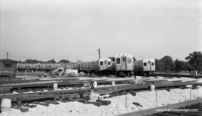 """CTA ""L"" car lineup at DesPlaines Avenue yards, July 6, 1958."" (Robert Selle Photo)"