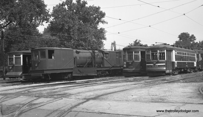 CTA 398, D5, and 6148 at 70th and Ashland on June 28, 1952. (Robert Selle Photo)