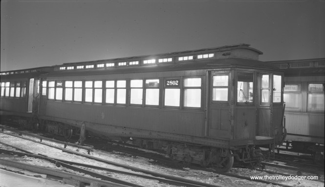 "CTA 2802 at Laramie Yard (Garfield Park ""L"") on February 1, 1957. (Robert Selle Photo)"