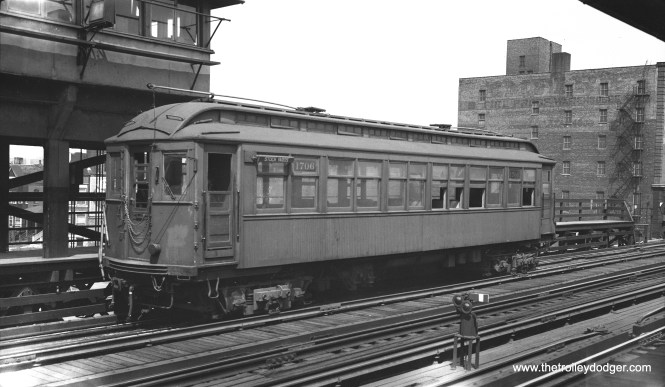 CTA 1706 is signed for Stock Yards, but is obviously a Kenwood train at Indiana Avenue. Not sure if this is before or after Kenwood became a shuttle in 1949. I assume it simply has the wrong sign on it. It's been suggested that in latter years, CTA may have through-routed Stock Yards and Kenwood trains. In actual practice, this wouldn't have been easy, as it would have involved a lot of switching across the main line here.