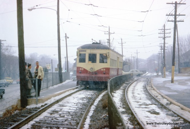 Red Arrow car 63 at West Garrett Road on December 29, 1962. This car was built by Brill in the mid-1920s.