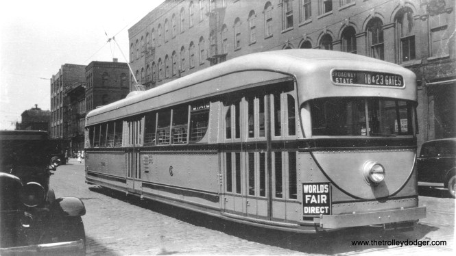 Brill built experimental pre-PCC 7001 in 1934, signed for Broadway-State. The picture can be dated because it ran direct service to A Century of Progress during the second season of this Chicago World's Fair.