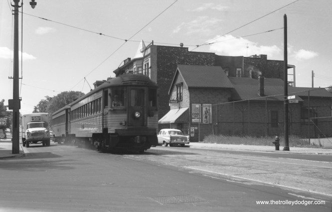 A two-car train of North Shore Line Silverliners at 6th and Walker in Milwaukee (probably in the late 1950s). We are apparently looking south.