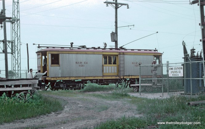 Southern Iowa Railway Freight Motor 101 -- 3 Photos Roger Puta took these during a railfan weekend in June 1963. South of the Moravia Iowa depot. Iowa Southern Utilities (former owner of the railroad) substation at left.
