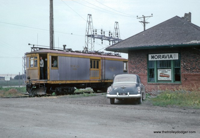 Southern Iowa Railway Freight Motor 101 -- 3 Photos Roger Puta took these during a railfan weekend in June 1963. At the Moravia, IA depot.